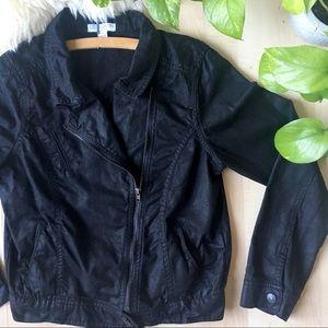 COTTON ON Asymmetrical Moto Jean Jacket Black M